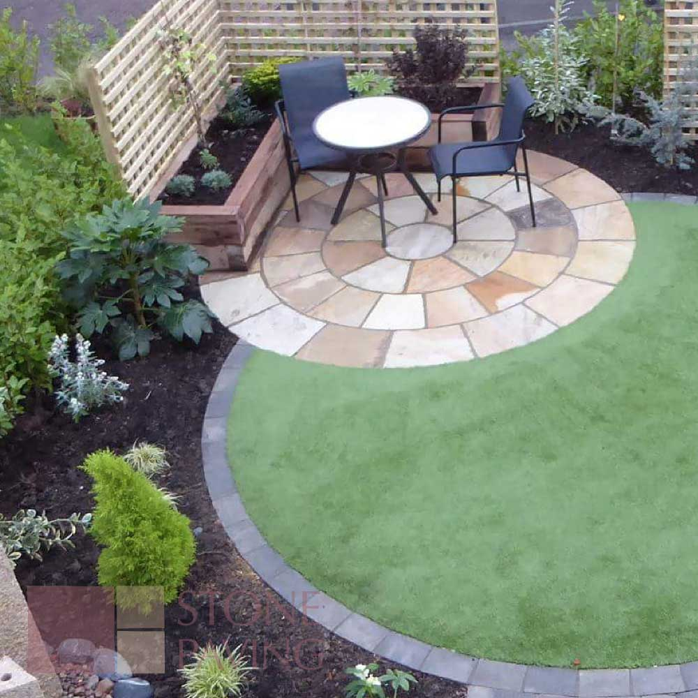 Natural Stone Paving Circles-Buff-Blend
